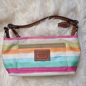 Coach striped fabric mini bag